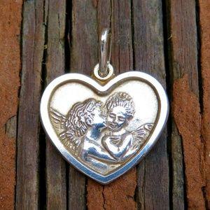 Vintage Italian Sterling Angel Cherub Heart Charm